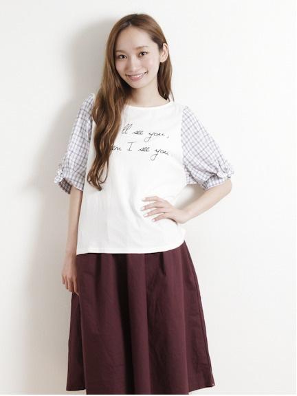 【W closet】ロゴptチェックボリューム7分袖プルオーバー